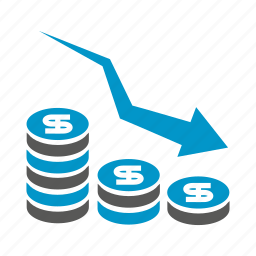 arrow, chart, currency, decrease, finance, invest, money icon