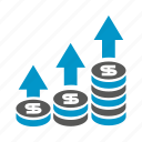 arrow, currency, dollar, finance, growth, invest, money icon
