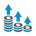 currency, dollar, finance, growth, invest, money, stack icon