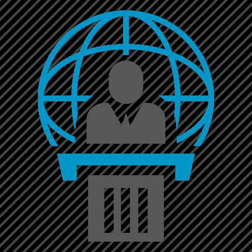 business man, conference, globe, leader, podium, speaker icon