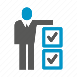 business, check list, office, people, present, stand, tick icon