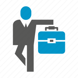 bag, briefcase, business people, people, stand icon