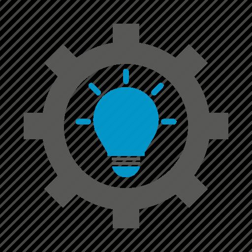 bulb, cog, gear, innovation, light bulb, smart, think icon
