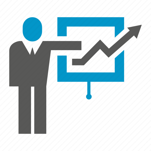 business, graph, growth, office, people, present, stand icon