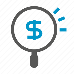 currency, dollar, finance, fund, magnifier, money, search icon
