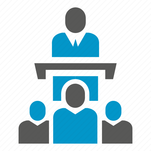 audience, conference, leader, meeting, people, podium, speaker icon