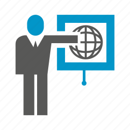 business, globe, office, people, presentation, projector, world icon