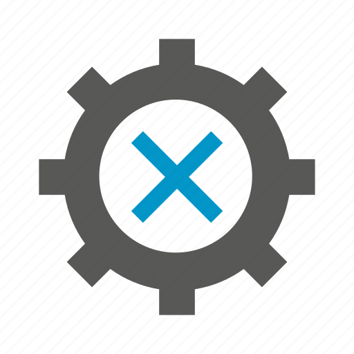 cog, cross, gear, wrong icon
