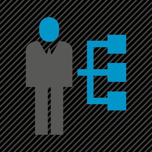 boss, diagram, management, organization chart, people icon
