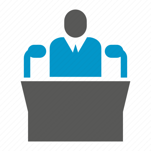 business, conference, leader, mic, people, podium, speaker icon