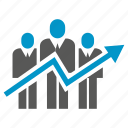 arrow, chart, graph, growth, people, teamwork icon