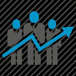 arrow, chart, graph, growth, people, teamwork icon