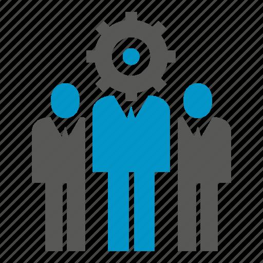 cog, gear, logic, people, team icon