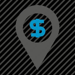 dollar, fund, map pin, money icon