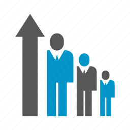 arrow, chart, graph, growth, people icon