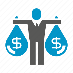 business people, finance, fund, invest, money, outlay, sack icon