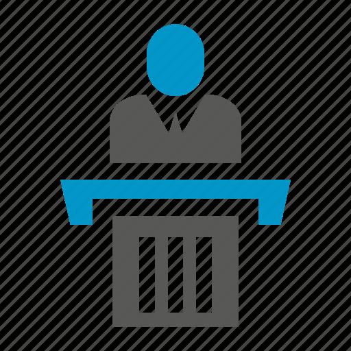 business people, leader, people, podium, speaker icon