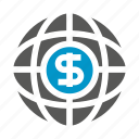 dollar, finance, find, globe, money icon