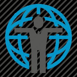 center, global, globe, people, world icon