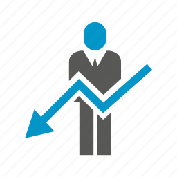 arrow, business man, chart, decrease, down, people icon
