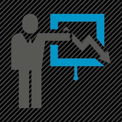 business people, decrease, graph, management, office, presentation, slide icon