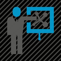 business people, management, office, presentation, slide icon