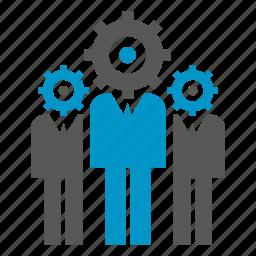 cog, gear, logic, man, people, team icon