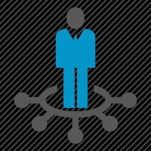 center, distribution, leader, management, people icon