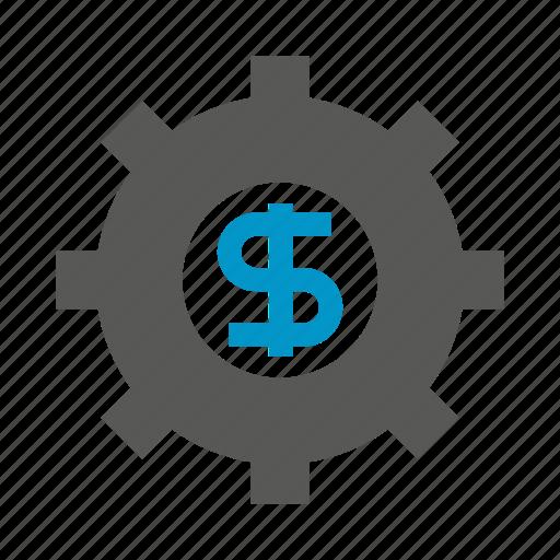 cog, dollar, finance, fund, gear, money icon