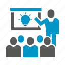 business people, idea, management, office, present, presentation, slide icon