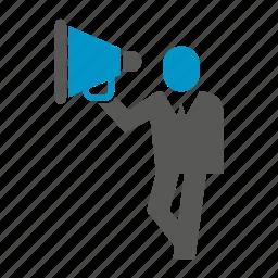 advertising, announce, marketing, megaphone, sound, speaker icon