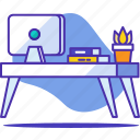 artist, book, business, computer, desk, office, workspace icon