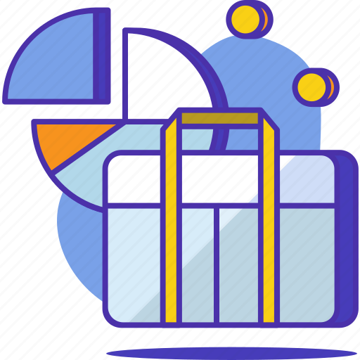 briefcase, business, chart, coin, finance, graph, office icon