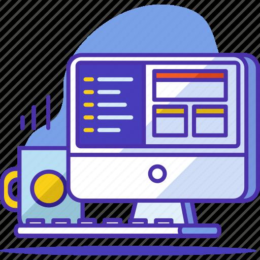 code, coding, computer, development, device, monitor, programming icon