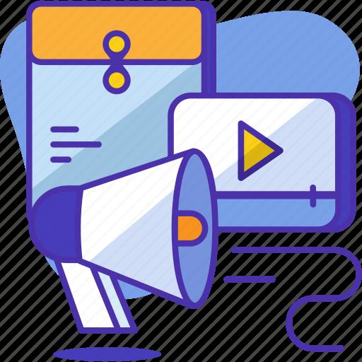 communication, interaction, internet, marketing, message, network, video icon