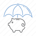 fund, money, protection, safety, umbrella icon