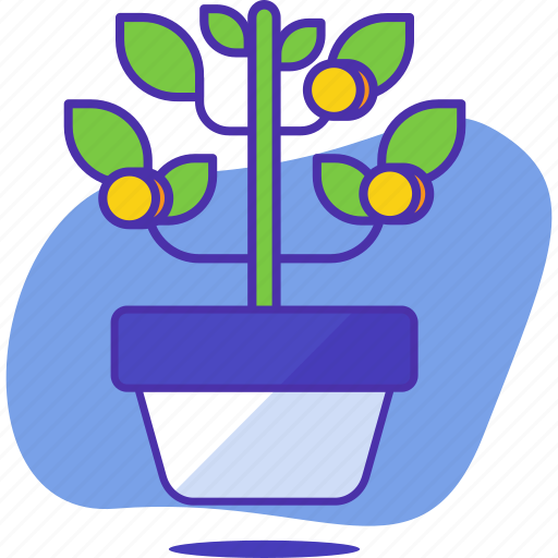 analytics, business, coin, finance, growth, money, plant icon