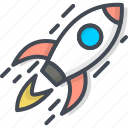 business, filled, outline, rocket, spaceship, startup