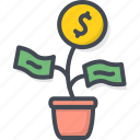 business, coin, filled, money, outline, plant