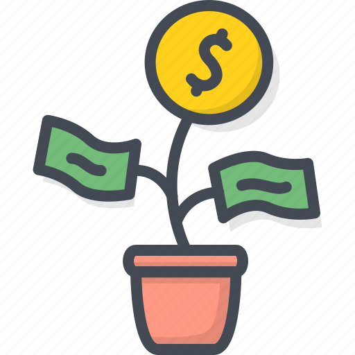 business, coin, filled, money, outline, plant icon