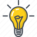 bulb, business, filled, idea, lught, outline, startup icon