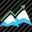 arrow, business, mountain, peak, startup icon