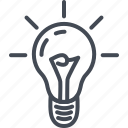 bulb, business, idea, light, line, ouline, startup