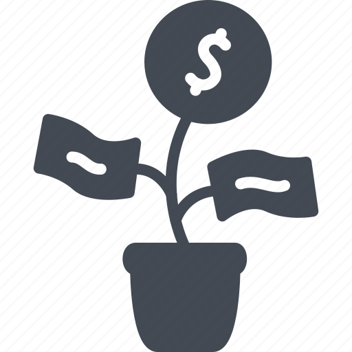 business, money, plant, solid icon