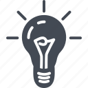 bulb, business, idea, light, solid icon