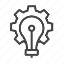 bulb, cogwheel, gear, settings icon