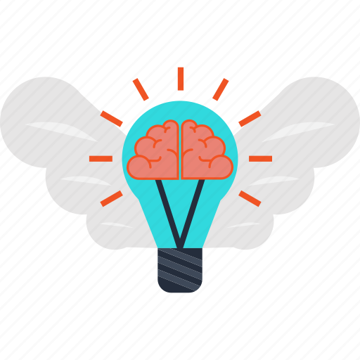brain, business, creativity, idea, innovation, invention, wings icon