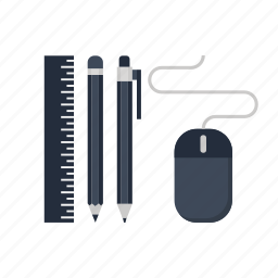 mouse, pen, pencil, power, ruler, tools, useful icon
