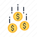 business, capital, coin, danger, fall, money, venture icon