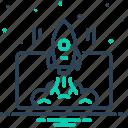 development, innovation, project, rocketship, spacecraft, spaceship, startup launch icon
